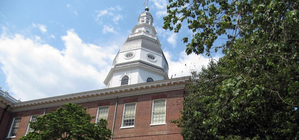 The Maryland Statehouse in capital city Annapolis, Maryland.
