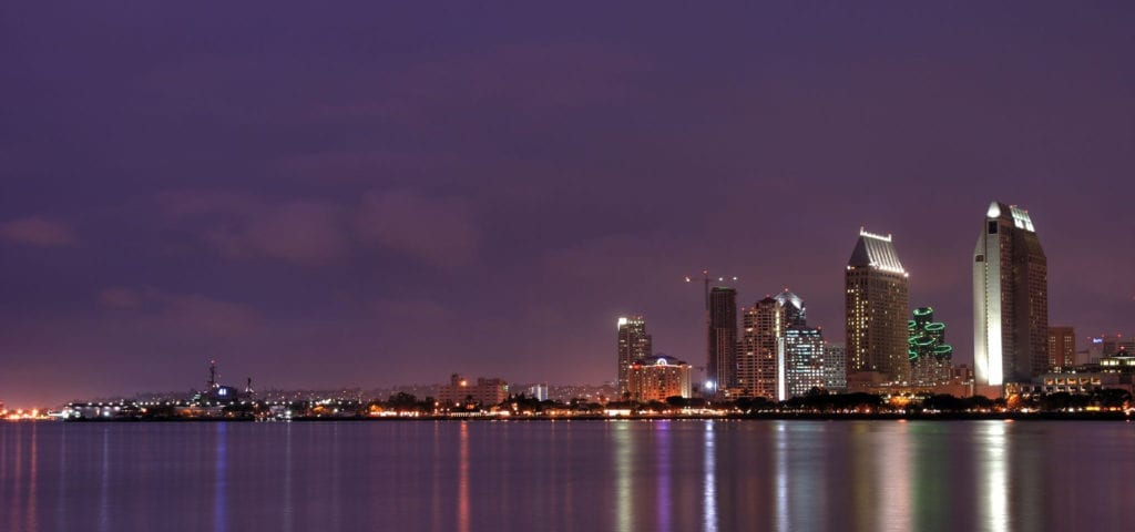 A cloudy May evening on Coronado Island over looking San Diego, California.