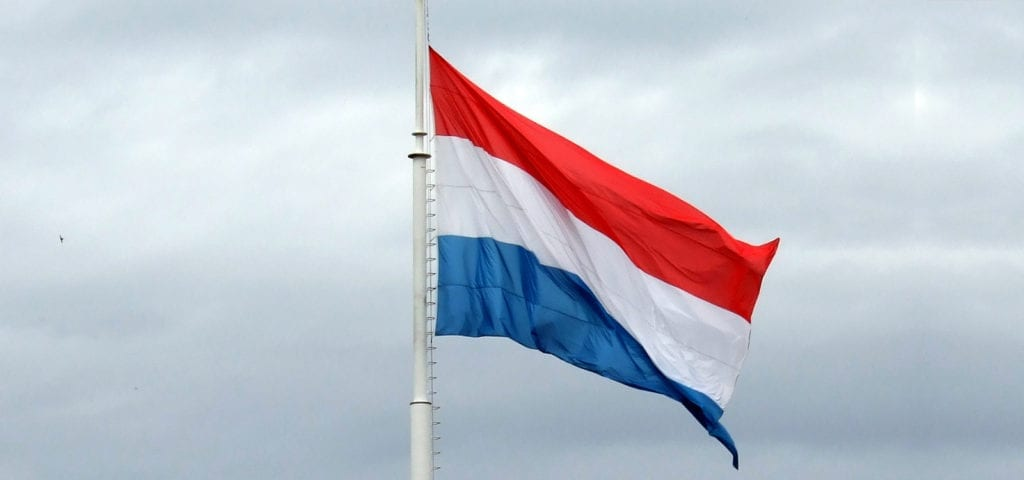 The official red, white, and blue flag of Luxembourg.