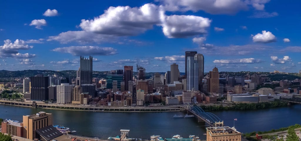 A cropped panorama photograph of Pittsburgh, Pennsylvania.