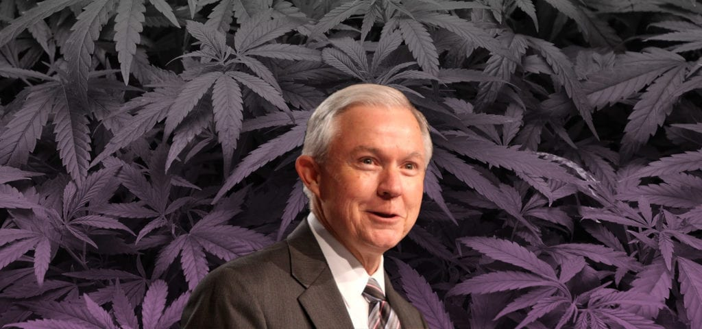 Digital collage of Attorney General Jeff Sessions in front of a cannabis background photo.