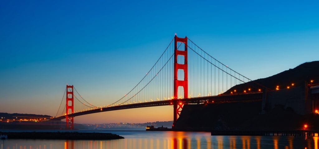 The Golden Gate Bridge in San Francisco pictured during nightfall.