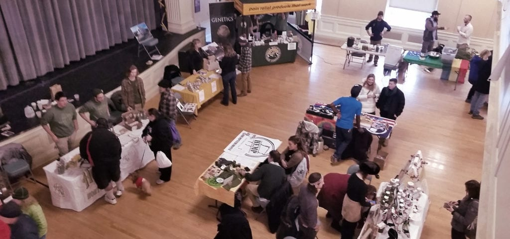 Patrons and CBD enthusiasts browse through the stalls at last weekend's hemp and CBD farmers market in Burlington, Vermont