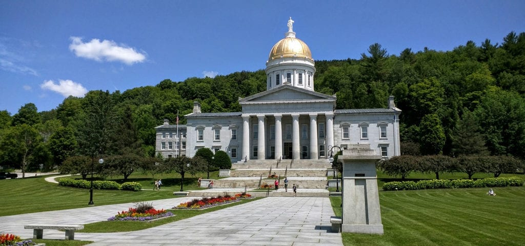 The Vermont Capitol Building in Montpelier, Vermont — VT is the first state to legalize cannabis via the legislature.