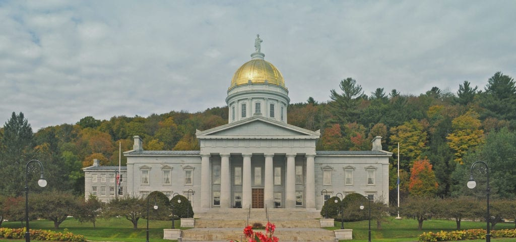 The Vermont Capitol Building in Montpelier, Vermont photographed on a colorful, autumn afternoon.