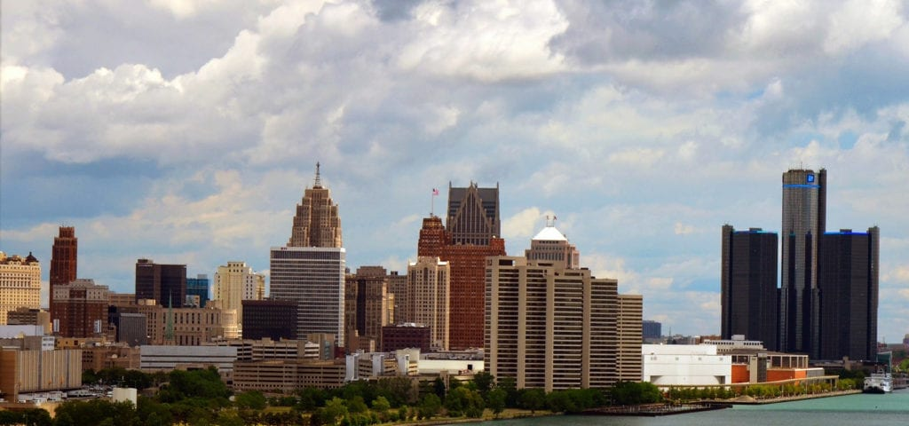 The Detroit, Michigan city skyline.