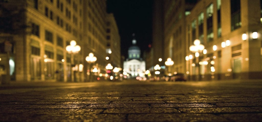 Downtown Indianapolis photographed at night from street level (literally, camera-lying-on-the-street level).