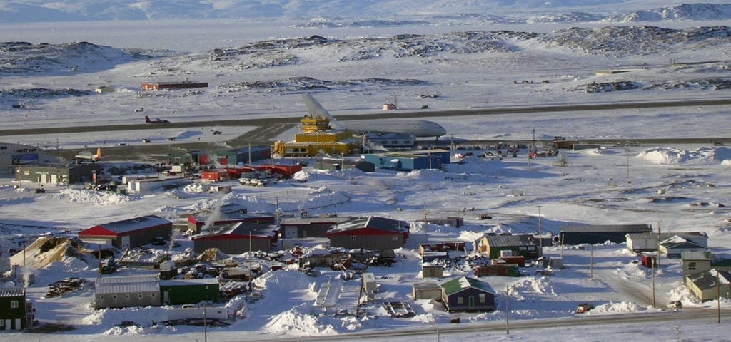 Aerial view of the airport in Iqaluit, Nunavut, Canada.