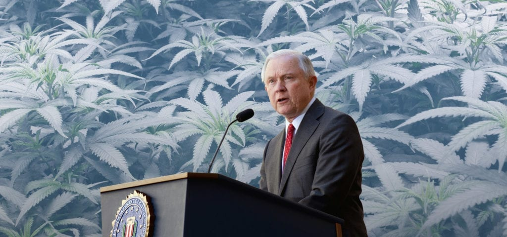 Jeff Sessions stands at a podium with a cannabis-themed digital background edited behind him.