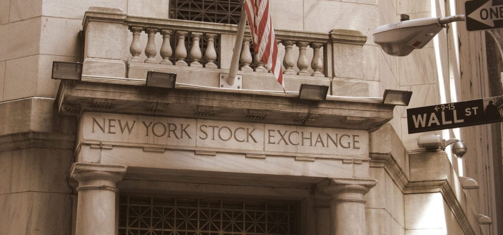 Entrance to the New York Stock Exchange in New York, New York.