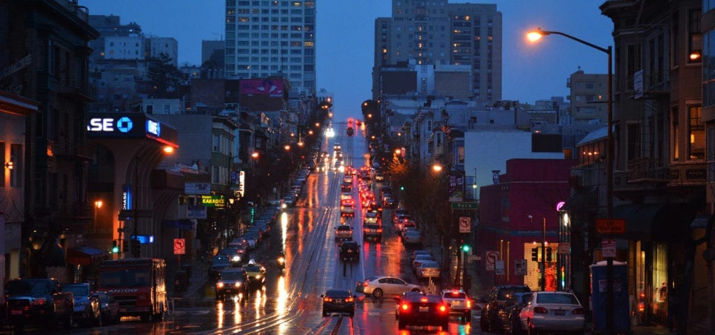 A rainy evening in San Francisco.