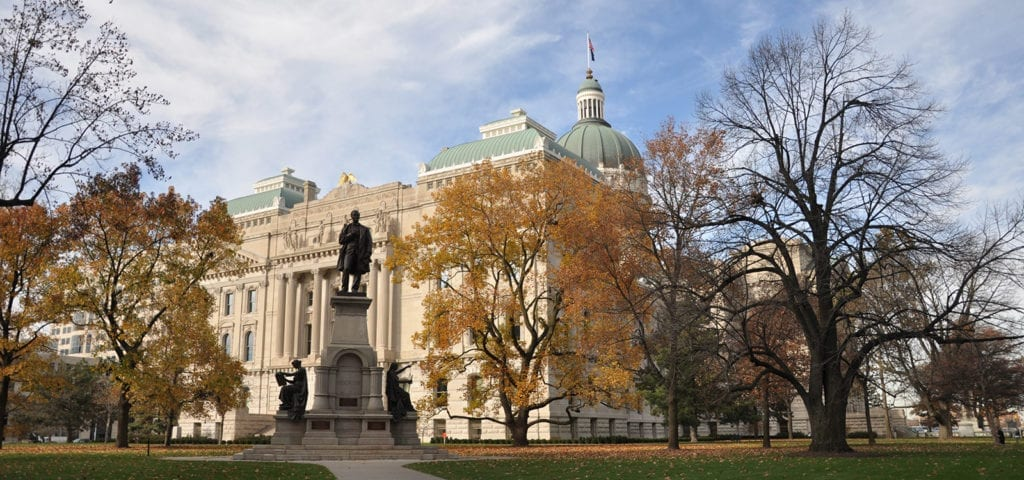 The Indiana State Capitol Building photographed on a sunny, Autumn day.