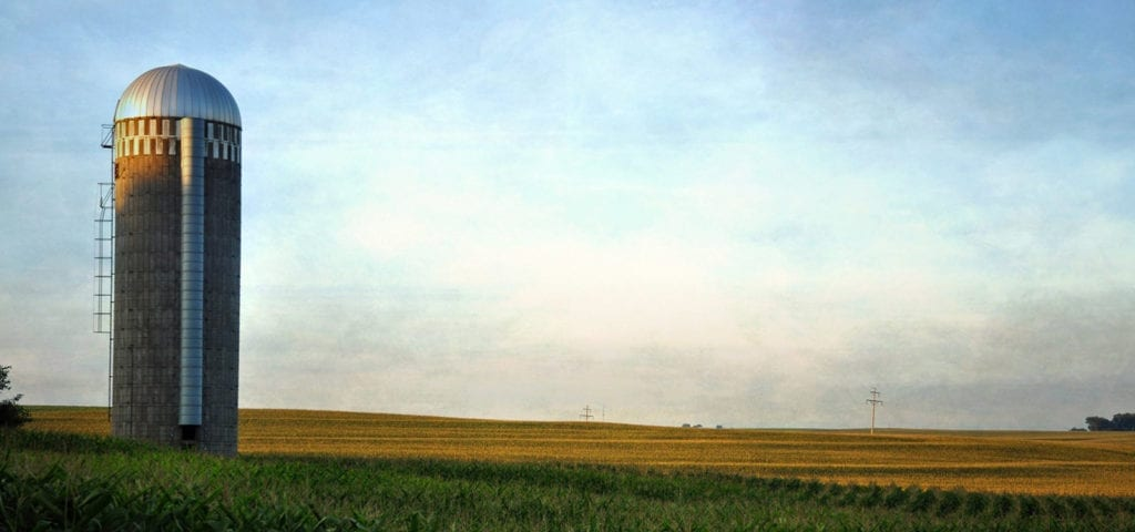 A lone silo sitting among Iowa's stretching farmland.