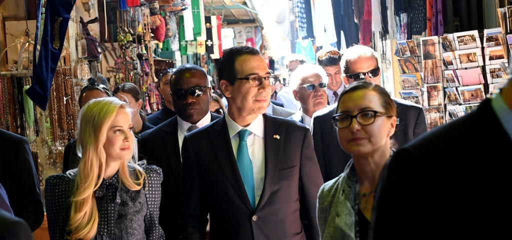 Treasury Secretary Steven Mnuchin, accompanied by U.S. Ambassador to Israel David Friedman and Acting Consul General Michael Hankey, toured the Old City of Jerusalem, making stops at the Church of the Holy Sepulcher and the Western Wall.