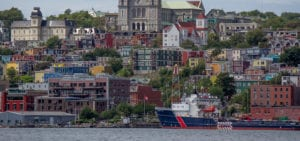 Photo of Newfoundland Island, taken from a boat in the harbor.