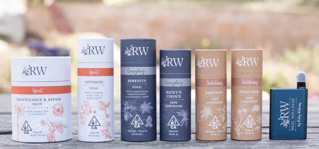 Display of RW products in a line on a wooden surface.