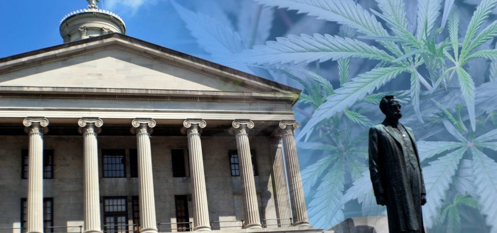 Digital collage of the Tennessee State Capitol building, cannabis plants, and an outdoor statue.