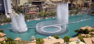 View from a hotel window of the famous Bellagio Fountain in Las Vegas, Nevada.