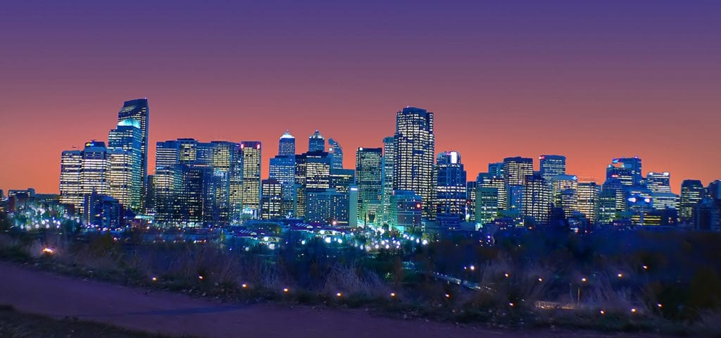 Nighttime photograph of the Calgary, Alberta city skyline.