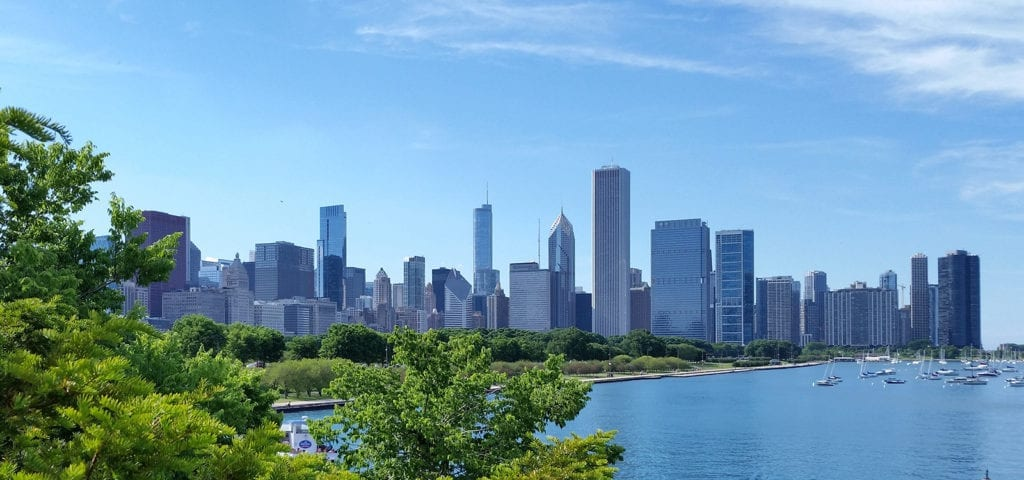 The Chicago, Illinois city skyline photographed from distance.