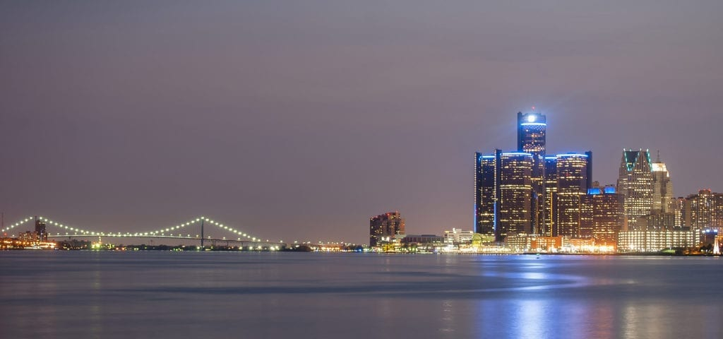 Photo of the city skyline for Detroit -- Michigan's largest city.