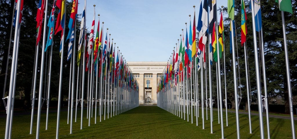Photograph of the view looking down the row of flags at the United Nations office in Geneva.