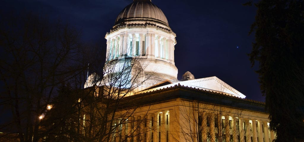 The Washington State Capitol Building photographed at night in Olympia, Washington.