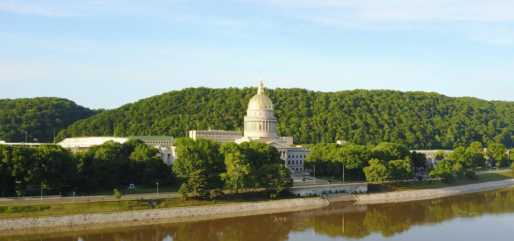 An aerial view of the West Virginia State Capitol Building.