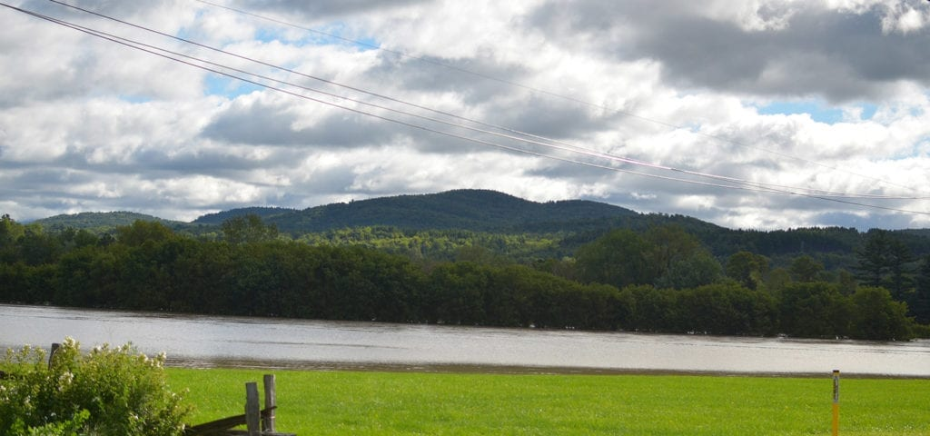 River and farmlands in the Vermont countryside.