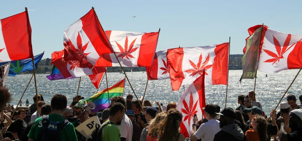 Cannabis supporters taking part in a legalization rally in Vancouver, British Columbia.