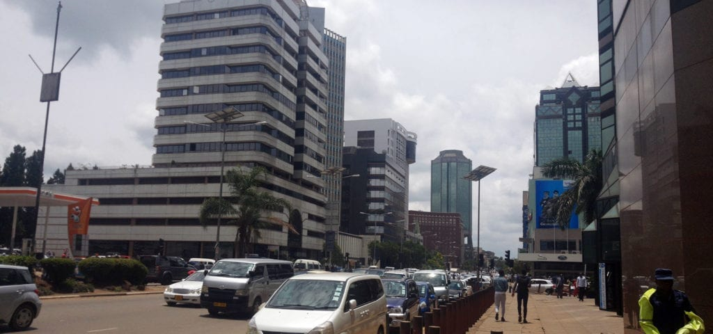 Photograph of street in the city of Harare, Zimbabwe.