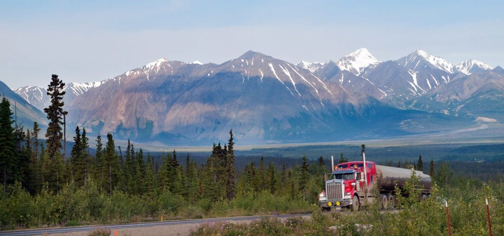A truck out in the massive Yukon wilderness.