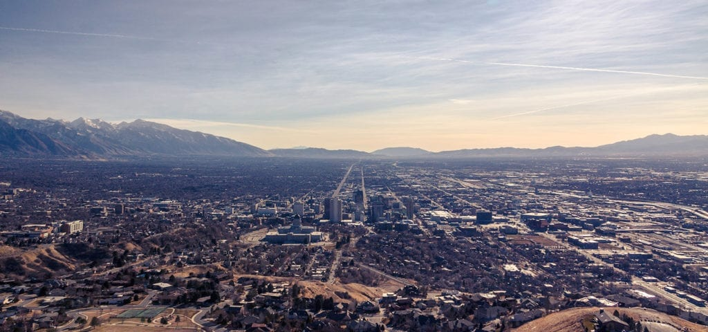 Skyline photo of Salt Lake City, Utah.