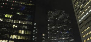 The Toronto Stock Exchange Tower in Toronto, Ontario photographed at night.