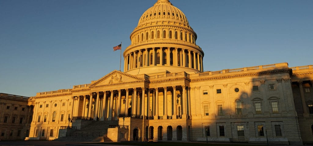 The U.S. Capitol Building, located on Capitol Hill in Washington D.C.