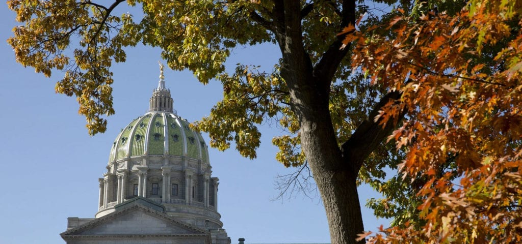 The Pennsylvania Capitol Building pictured in Autumn.