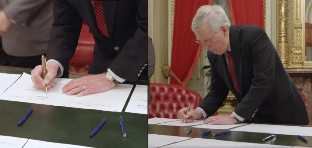 Mitch McConnell Uses Hemp Pen to Sign Finalized Farm Bill